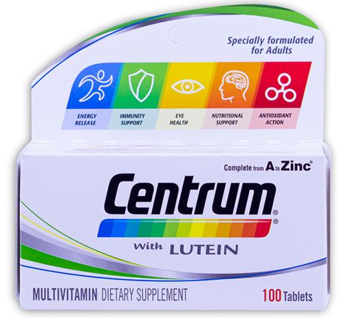 حبوب سنتروم مع لوتين  CENTRUM with LUTEIN 100 TAB